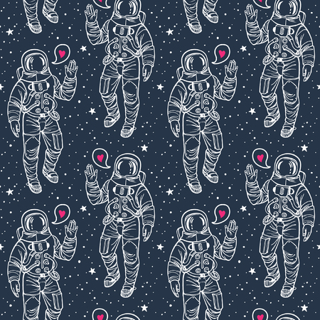 spacesuit: Astronaut with heart and stars seamless vector pattern. Spacesuit with raised hand in salute. Speech bubble with pink heart. Cosmic background. White stroke on dark blue backdrop.