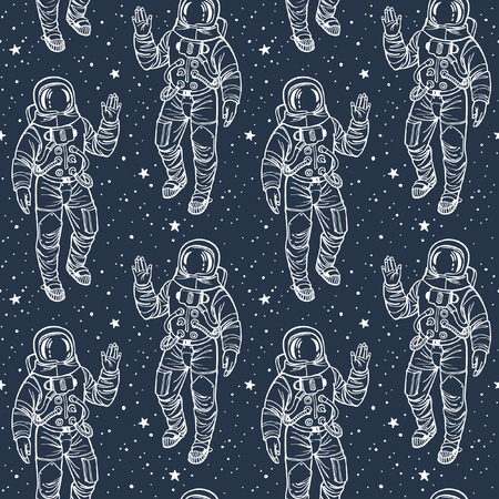 spacesuit: Astronaut with stars cosmic seamless vector pattern. Spacesuit with raised hand in salute surrounded by stars. White stroke on dark blue backdrop.