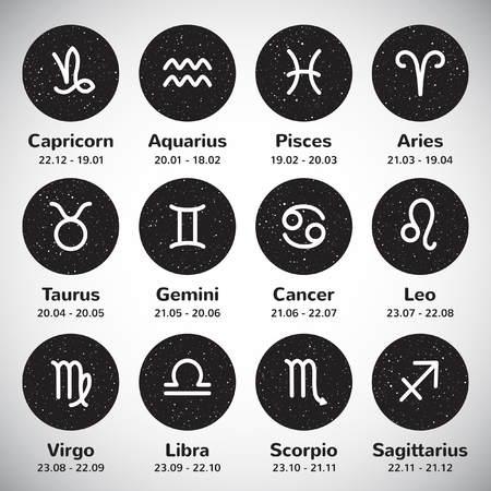 Set of simple stroke zodiac signs with names and dates on black and white round cosmic backgrounds. Night sky circles with hand drawn spray stars. Vettoriali