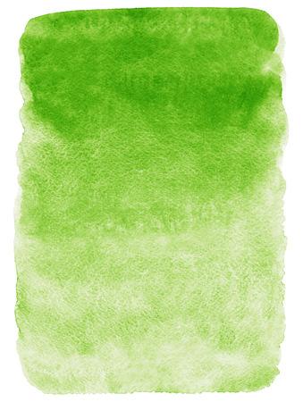 緑のグラデーションの水彩背景。手描きのテクスチャです。大まかな、芸術的なエッジ。