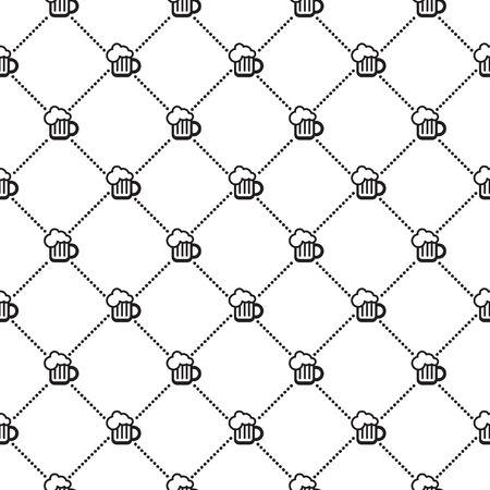 diagonals: Black and white beer mug seamless vector pattern. Crossing dot diagonals. Flat design.