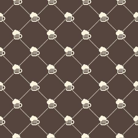 vector pattern: Beer mug seamless vector pattern. Crossing dot diagonals. Flat design. Illustration