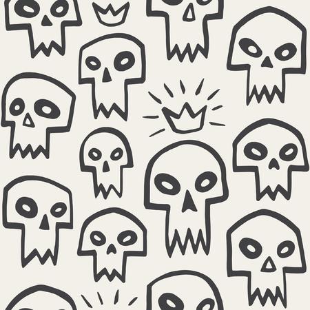 vampire teeth: Doodle evil skulls seamless pattern. Cute cartoon sculls with sharp vampire teeth and shining crown. Hand drawn halloween monochrome background.