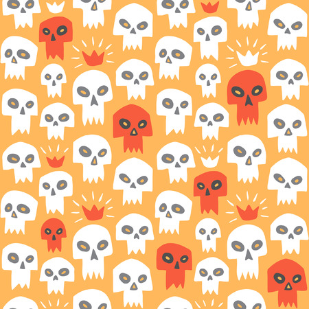 vampire teeth: Hand drawn white and red evil skulls seamless pattern. Cute cartoon sculls with sharp vampire teeth and shining crown. Halloween background. Orange backdrop.