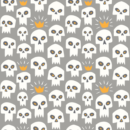 Hand drawn white evil skulls seamless pattern. Cute cartoon sculls with sharp vampire teeth and shining crown. Halloween background. Grey backdrop.