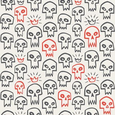 vampire teeth: Doodle evil skulls seamless pattern. Cute cartoon sculls with sharp vampire teeth and shining crown. Hand drawn halloween background.