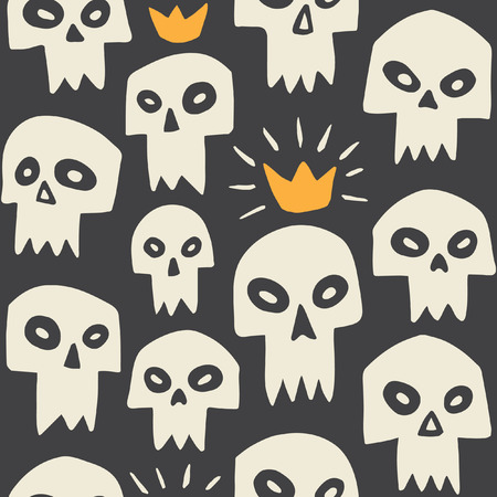 skull and crown: Hand drawn evil skulls seamless pattern. Cute cartoon sculls with sharp vampire teeth and shining crown. Halloween background. Black backdrop.