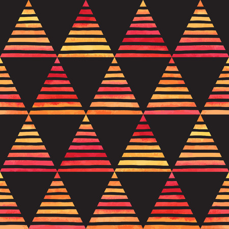 black yellow: Black and colorful striped watercolor triangles seamless vector pattern. Bright yellow, pink, orange gradient triangles with hand drawn stripes on black backdrop. Abstract geometrical background.