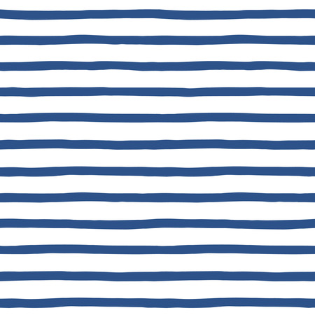 Hand drawn sailor stripes seamless vector pattern. Navy blue and white striped background. Sailor vest ornament.
