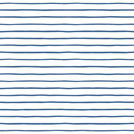 uneven edge: Thin hand drawn stripes seamless vector pattern. Blue and white striped background. Slightly wavy streaks.