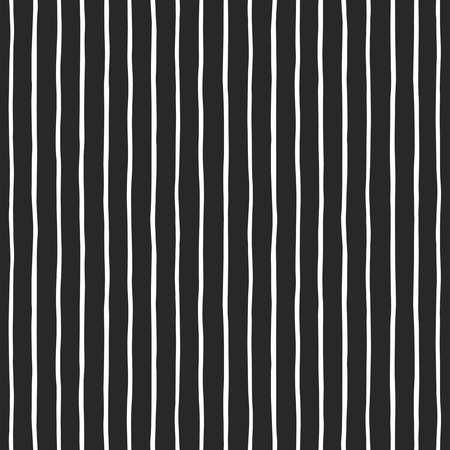 Thin hand drawn uneven stripes seamless pattern. White streaks on black backdrop. Striped monochrome vector background. Black and white texture.