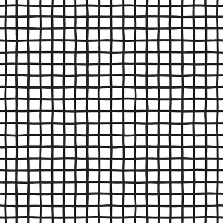 Black and white checked, square, plaid vector seamless pattern. Vertical and horizontal hand drawn uneven stripes. Chequered monochrome geometrical background.