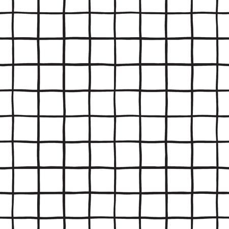 흑인과 백인, 사각형, 격자 무늬 벡터 원활한 패턴을 조사했다. 수직 및 수평 손 고르지 줄무늬를 그려. 바둑판 무늬 흑백 기하학적 배경입니다.