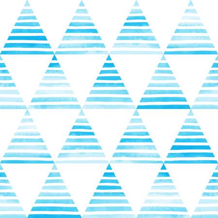 ストライプ水彩三角形シームレス パターン。白い手と明るいスカイブルーの三角形は、白い背景でストライプを描画します。抽象的な幾何学的な背