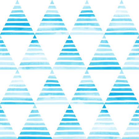 Striped watercolor triangles seamless vector pattern. Bright sky blue triangles with white hand drawn stripes on white backdrop. Abstract geometrical background.
