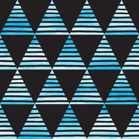 blue stripe: Striped watercolor triangles seamless vector pattern. Bright sky blue triangles with black hand drawn stripes on black backdrop. Abstract geometrical background.