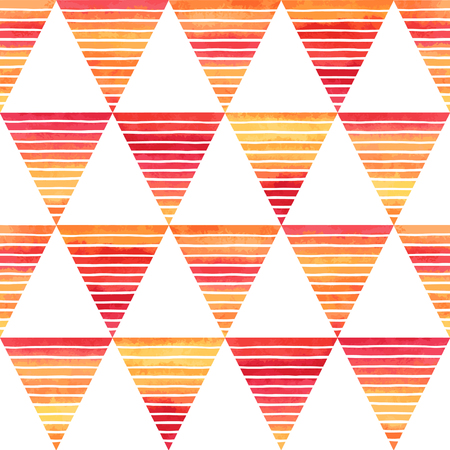 line vector: Striped watercolor triangles seamless vector pattern. Bright yellow, pink, orange gradient triangles with white hand drawn stripes on white backdrop. Abstract geometrical background. Illustration