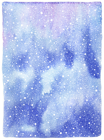 Winter watercolor abstract background with falling snow splash texture. Christmas, New Year hand drawn template. White snowflakes, shades of blue watercolour stains. Rough edges.