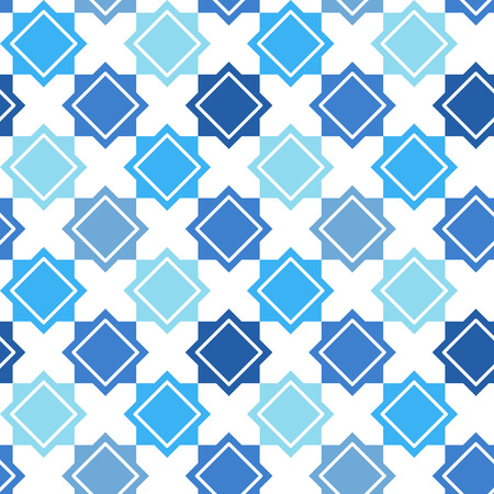 inlay: Abstract geometrical seamless vector pattern. Turkish ornament. Mosaic, inlay, ceramic tile imitation. Shades of blue. Illustration