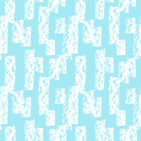 rectangle: Winter hand drawn geometrical seamless vector pattern. Ornament made of rectangle rough strokes with grunge texture. Blue and white. Textured background.