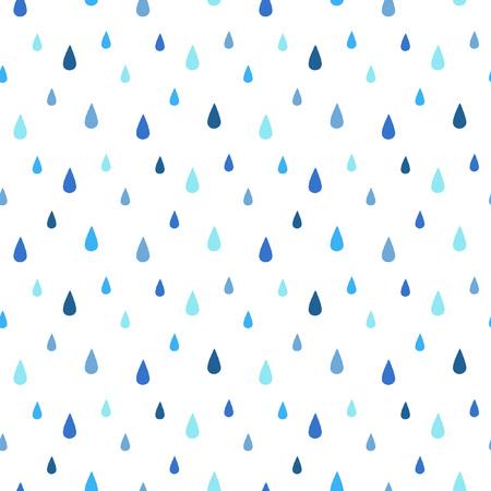 비 원활한 벡터 패턴입니다. 물 방울 떨어지는. 파란색의 그늘. 비오는 배경.