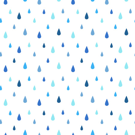 Rain seamless vector pattern. Falling water drops. Shades of blue. Rainy background.
