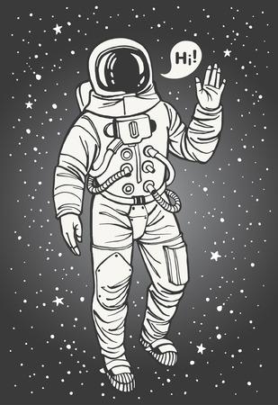 astronauta: Astronauta en traje espacial con la mano levantada en señal de saludo. Bocadillo con saludo. Tinta dibujada ilustración cosmonauta. Vectores