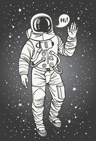 Astronaut in spacesuit with raised hand in salute. Speech bubble with greeting. Ink drawn cosmonaut illustration.