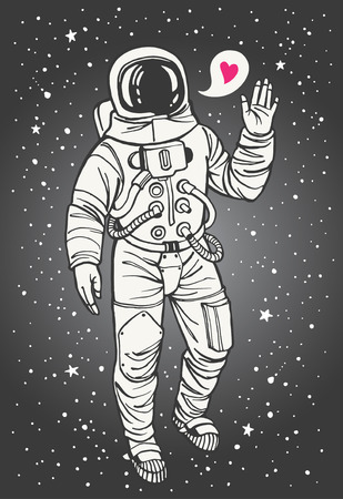 farewell: Cosmonaut with heart. Valentines day illustration. Astronaut with raised hand in salute. Speech bubble with tiny pink heart. Hand drawn spacesuit illustration. Illustration