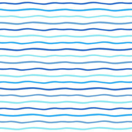 wavy: Thin hand drawn wavy stripes seamless vector pattern. Waves backdrop. Shades of blue and white sea striped abstract background. Wavy uneven streaks. Illustration
