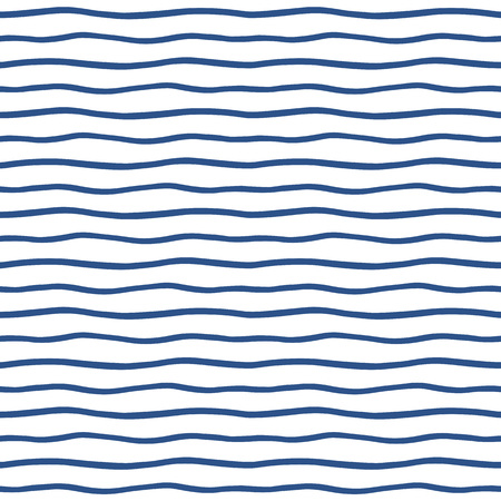 streaks: Thin hand drawn wavy stripes seamless vector pattern. Navy blue waves backdrop. Marine striped abstract background. Wavy uneven streaks.