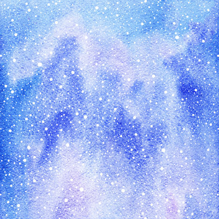 sputter: Winter watercolor abstract background with falling snow splash texture. Painted Christmas, New Year hand drawn template. White snowflakes, shades of blue watercolour stains.