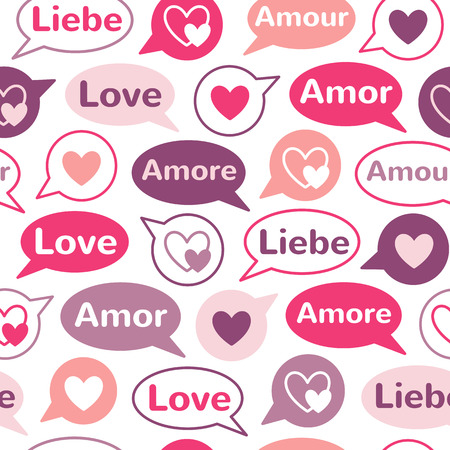 talk balloon: Speech bubbles with hearts and word LOVE in different languages: english, french, german, italian, spanish. Shades of pink seamless vector pattern. Flat design. Valentines day background.