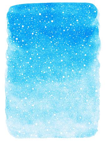 neige qui tombe: Sky aquarelle d'hiver bleu abstrait avec la chute neige texture de d�marrage. No�l, Nouvel An peint mod�le. Remplissage d�grad�. Bords rugueux. Tir� par la main chutes de neige texture.