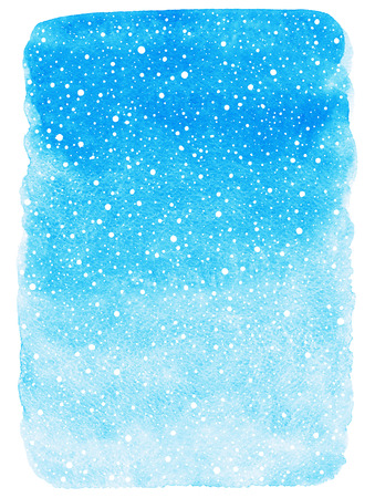 Sky blue winter watercolor abstract background with falling snow splash texture. Christmas, New Year painted template. Gradient fill. Rough edges. Hand drawn snowfall texture. Stock Photo