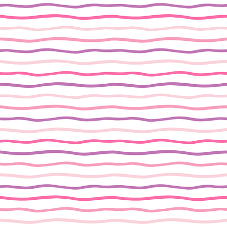 streaks: Striped abstract background. Thin hand drawn wavy stripes seamless vector pattern. Pink, violet and lilac waves backdrop. Wavy uneven streaks.