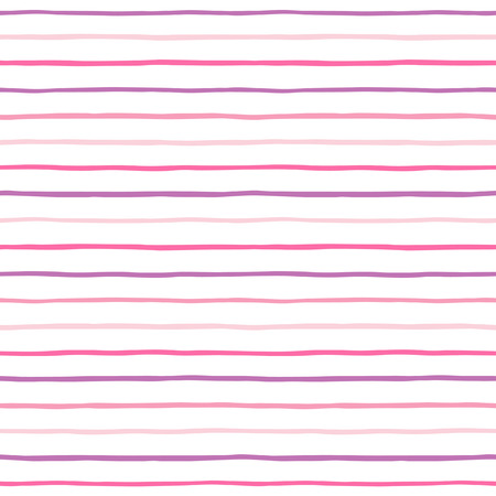 horizontal lines: Pink, violet and lilac striped abstract background. Thin hand drawn wavy stripes seamless vector pattern. Slightly wavy uneven streaks. Illustration