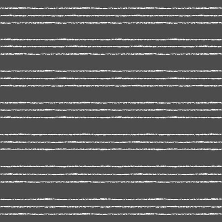 Crayon or chalk stripes vector seamless pattern. Thin white streaks on black backdrop. Striped monochrome background. Endless pinstripes on chalkboard. Illustration