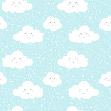 青空雲シルエットと降雪スプラッシュ テクスチャ。面白い漫画の顔を持つ雲。ベクターのシームレスなパターン。冬の背景。落下の雪の手には、ス