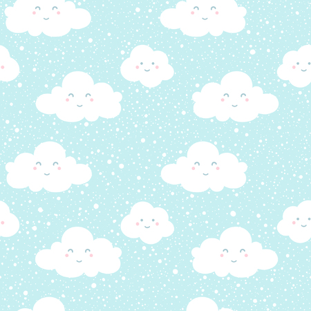 Blue sky with clouds silhouettes and snowfall splash texture. Clouds with funny cartoon faces. Vector seamless pattern. Winter background. Falling snow hand drawn spray texture.