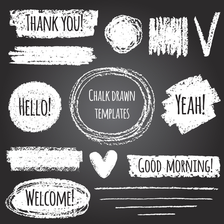 blackboard background: Chalk or pencil drawn graphic elements collection - strokes, stripes, frames, rectangle, oval and round shapes, heart, tick. Chalk forms on black board with lettering - thank you, hello, welcome