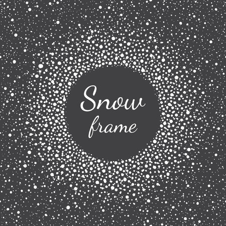 sputter: Snow frame with empty space for your text and splash texture. Winter background made of spots or dots of various size. Round shape. New Year, Christmas black and white abstract template.