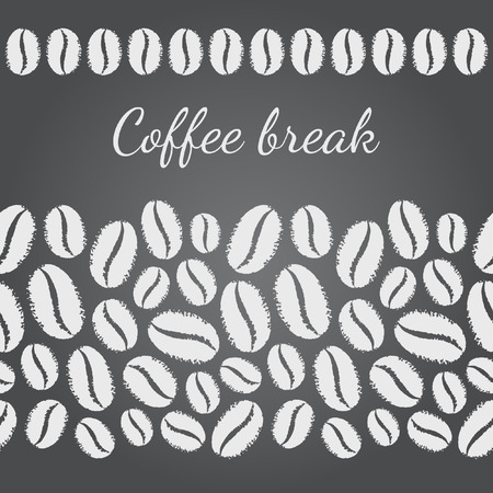 break in: Chalk drawn imitation vector coffee beans template. Can be used as seamless in horizontal direction frames. Chalkboard monochrome coffee break background. Rough edges.