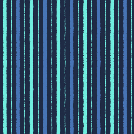 width: Brush drawn stripes of different width vector seamless pattern. Hand drawn geometrical striped background. Bars with rough, uneven edges. Dark blue, indigo, emerald green, blueberry colors.