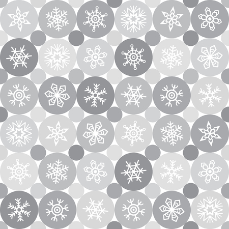 simple: Monochrome winter seamless pattern. Snowflakes of various type and circles. Abstract simple geometrical background with different snow crystals and round ornament. Shades of grey. Flat design.