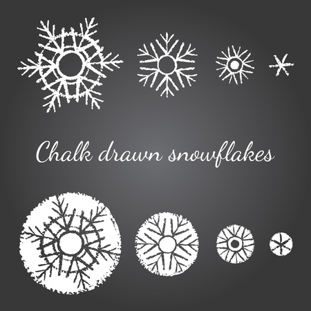 the snowflake: Chalk drawn on black board snowflakes of different size and level of detail. New year, Christmas graphic elements, templates for design. Brush drawn snow crystals of various type with rough edges.