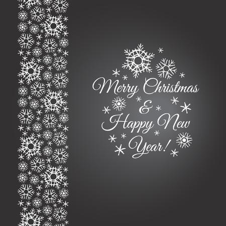 Schneeflocken Grenze. Kreide gezeichnet Rand schwarzen Brett Winter aus Schneeflocken mit Frohe Weihnachten und Happy New Year Schriftzug. Pinsel oder Bleistift gezeichnet Schneekristalle mit rauen, künstlerische Kanten.