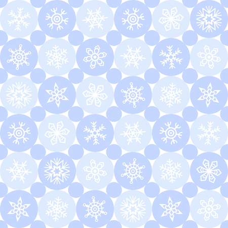 northern light: Winter seamless pattern. Snowflakes of various type and circles. Abstract simple geometrical background with different snow crystals. Shades of blue. Flat design. Card template.