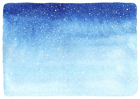 떨어지는 눈 시작 질감 겨울 수채화 수평 그라데이션 배경입니다. 크리스마스, 새 해 손을 고르지 가장자리 템플릿을 그려. 푸른 수채화 얼룩의 그늘.