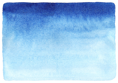 Marine or navy blue watercolor horizontal gradient fill background with rough, uneven edges. Watercolour stains. Abstract painted template with paper texture.